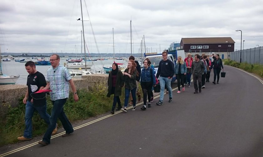 Students on their way to a nearby marina